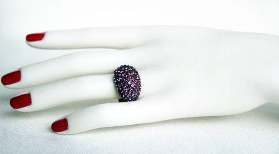 swarovski crystal adjustable antiqued brass ring purple crystal swarovski wedding jewelry bridal jewelry bridesmaid gift