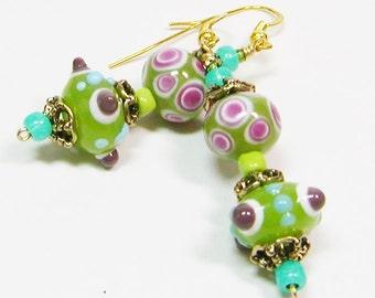 Green and Pink Lamp Work Earrings, Lamp Work Earrings, Dangle Earrings, Pink and Green Earrings