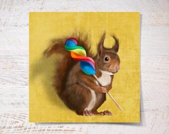 Squirrel print, Squirrel poster print funny gift print portrait wall art print wall decor fine art print kids children illustration