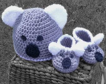 Chapeau au Crochet Koala et chaussures, bébé fait main koala bonnet et  chaussons, bonnet