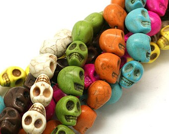 Skull Beads Halloween Beads Assorted Colors Bulk Beads Wholesale Beads-18mm Beads 18mm Skull Beads 4 Strands
