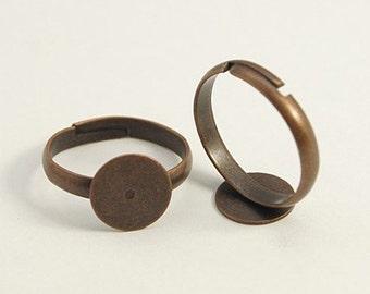 Ring Blanks Blank Rings Adjustable Rings Antiqued Copper Bulk Rings Wholesale Rings 100pcs