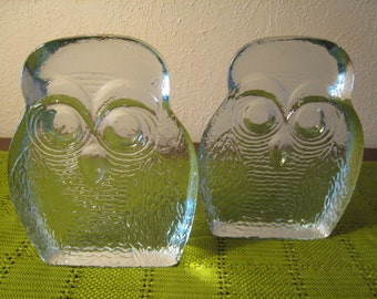 BLENKO Owl Bookends Designed by Joel Myers - Icy Glass Vintage Mod Owl Bookends - Mid Century Modern - 60s / 70s Mod