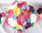 SOLD Custom Order: COLORFUL Fabric Flower Wedding Bouquet, with brooches - Sample for Lisa