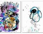 Walle and Eve Mini Print Set 5x7 inch inch inkjet print / Watercolor Painting Drawing Fan Art Pixar Disney