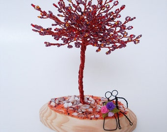 Blossom in Fall Bead Tree Cake Topper,  Desktop Business Cardholder / Note Display