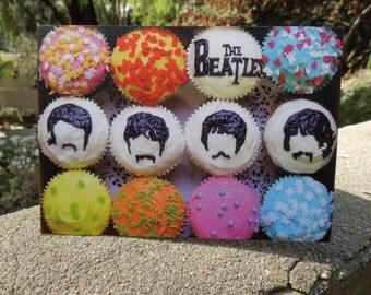 Fun Beatles Cupcake Birthday Card with Envelope