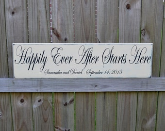 Happily Ever After Starts Here, Personalized Wedding Gift, Engagement Gift, Anniversary Gift, Important Date Custom Wood Sign