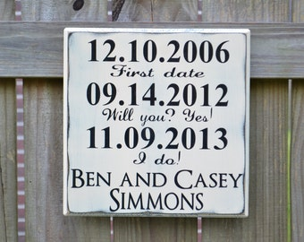 Personalized Wedding Sign, Wedding Gift, Engagement Gift, Anniversary Gift, Wedding Gift, Important Date Custom Wood Sign - Times