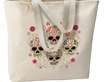 Sugar Skulls New Oversize Tote Bag, Very Nice Unique, All Purpose, Day of the Dead
