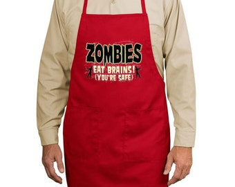 Zombies Eat Brains You're Safe New Apron, Kitchen, Parties, Events, Gifts