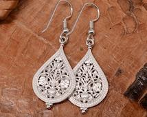 Byzantine Filigree Earrings, Sterling Silver | Handmade Chandelier Earrings Statment Russian Vintage Byzantine Jewelry Ancient Design