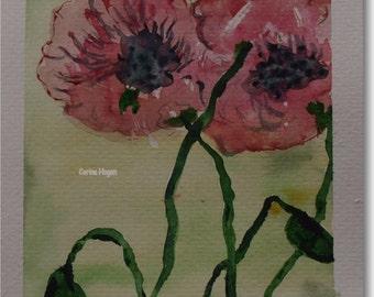 Original Irish Floral Watercolour Painting by Artist CORINA HOGAN - Poppy Breeze B