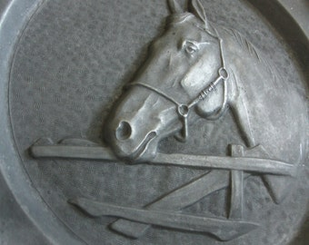 PEWTER plate vintage zinn dish HORSE at fence, collectors plates, winged angel hallmark touchmark collectible, equine equestrian gift, metal
