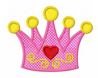 Instant Download Princess Crown Applique Machine Embroidery Design NO:1351