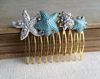 Beach Wedding hair accessories, Mint gold silver Starfish hair comb, mint hair accessories, starfish hairclip Bridal aqua