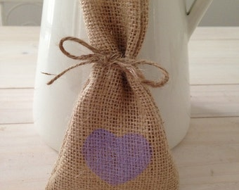 30 x Purple Hessian/ Burlap Wedding Favour Bags