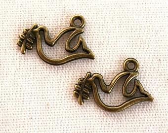 10 Antique Bronze Peace Dove Charms/Pendants CB-0004