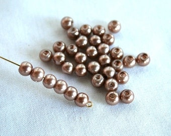 6 mm Light Bronze Glass Pearl Beads
