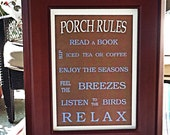 Porch Rules 5 X 7 Framed Sign