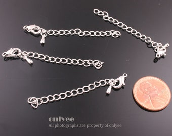 10Sets-50mm Bright Rhodium extender chains with a clasp for jewelry making supplies(K212S)