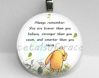GLASS tile necklace pendant Winnie the Pooh quote Braver Stronger Smarter 25mm 1""