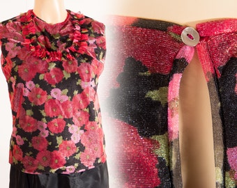 Glamorous authentic 1950's vintage silky shiny black red and lilac floral design back fastening polyester sleeveless blouse  - DB121