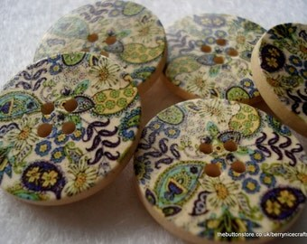 30mm Wood Buttons with Green Paisley Print Pack of 5 Green Buttons W3039