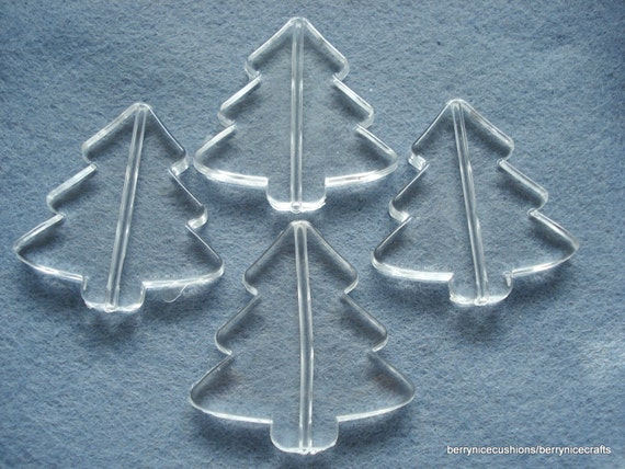 41mm Clear Acrylic Christmas Tree Shapes Pack Of 9 Christmas