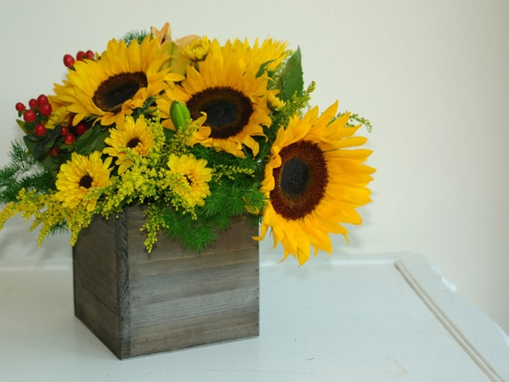 Items Similar To Medium Wood Box Woodland Planter Flower