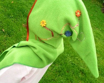 Girls Pixie Scoodie Age 3-7yrs....with swirls and flowers to hood