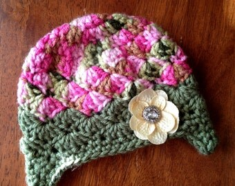 Crochet Baby Girl Earflap Hat Brown Pink Green