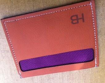 Leather Card Wallet, Minimalist, Orange w Purple Lining