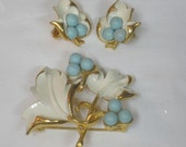 Vintage Sarah Coventry 'Placid Beauty' Brooch and Earrings, Leaf and Blue Berry