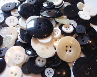 Black and Whiteish Button Mix 5 to 35mm 50 Buttons