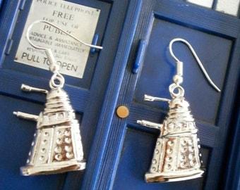 Silver Dalek earrings