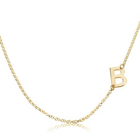 Sideways Gold Initial Necklace, Initial Pendant, Personalized Necklace, Custom Necklace, Letter Necklace