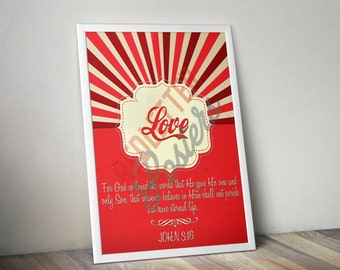 John 3:16 Bible Verse Retro Vintage Typography Poster 20x30 For God so loved the world that He gave His one and only Son that whoever