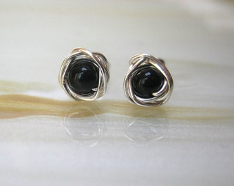 Black Stud Earrings, Tiny Earrings, Obsidian Earrings, Small Stud Earrings, Black Earrings,
