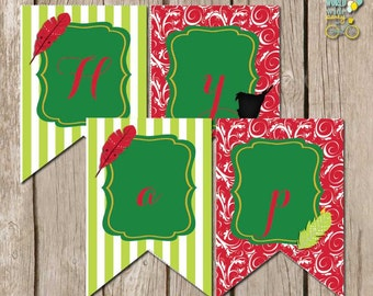 INSTANT download: Peter Pan Party -  Red Feather Party Banner - Printable PDF file
