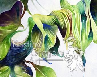 Leaves, Nature, Thread : Original Watercolor Painting 11X14