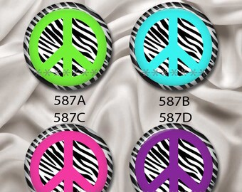 "Zebra Peace Signs - Interchangeable Magnetic Design Inserts - FIT Clique and Magnabilities 1"" Jewelry Bases...587"