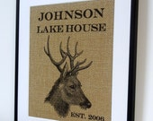 Deer Rustic Personalized - Buck and Doe Heart Personalized Wall Art- Lake House