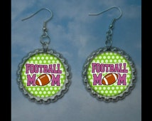 Football mom bottlecap earrings-- Plain or Glitter, football mom idea, football gift idea footbal mom gift, football earrings