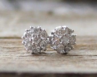 Diamond Flower Cluster Stud Earrings in 14K White Gold
