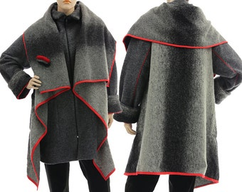 Discount 200 USD - was 430 now 230, coat double layered boiled wool grey red / lagenlook for medium to plus size women M L, US size 12-16