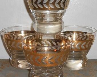 Vintage Rock Glasses, Drinking Glasses, Gold, Barware, Mad Men, Cocktail Glasses, Bar Glasses, Set of Four