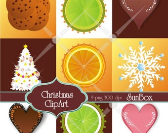 Christmas clipart Chocolate heart, Cookies, Lime, Orange, White Tree - 9 ClipArt Images for cards, scrapbooking  - instant download - CU OK