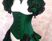 EMERALD  Bustle  Silk Tie On Bustle Skirt  and shrug SET Lolita Victorian Gothic Wedding  By Ophelias Folly