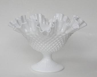 Hobnail Milk Glass Pedestal Dish